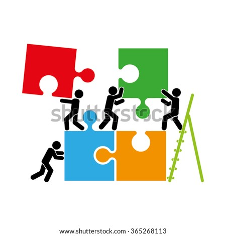 puzzle and people icon vector illustration eps10 - stock vector