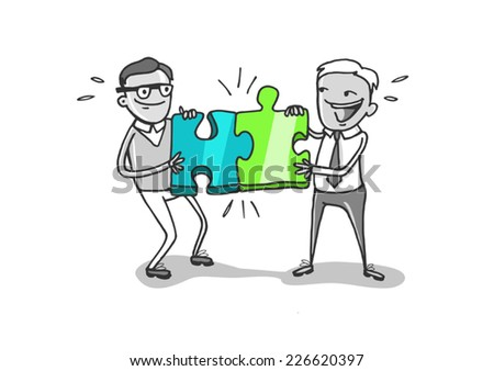 Puzzle, B to B, Business - stock vector