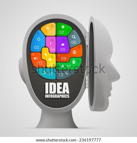 Puzzle brain in an open head. Vector illustration - stock vector