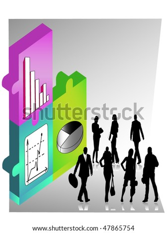 puzzle business connection, biz world, reports - stock vector