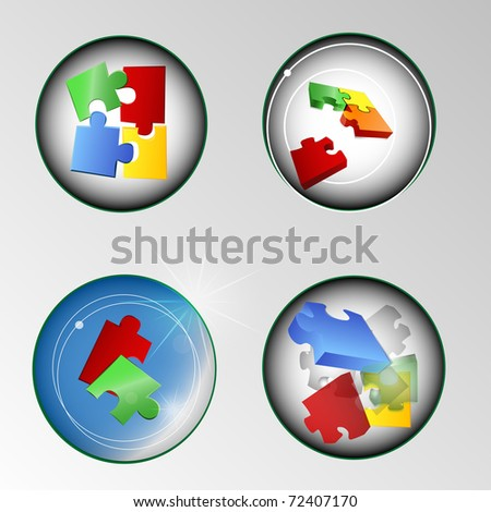 puzzle button vector illustration - stock vector