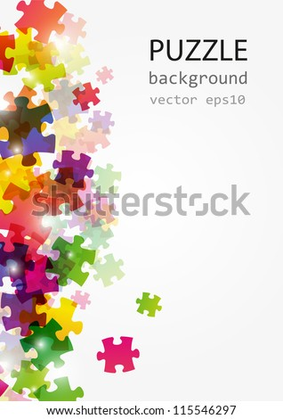 Puzzle color background with place for text - stock vector