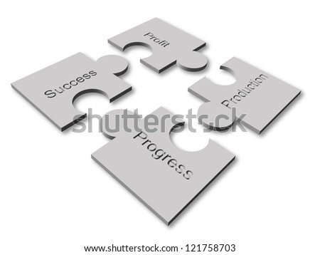 Puzzle concept graphic of some components of business - stock vector