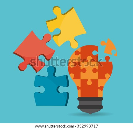 Puzzle concept with jigsaw pieces  design, vector illustration 10 eps graphic. - stock vector