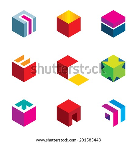 Puzzle cube maze box arrow symbol success icon logo set - stock vector