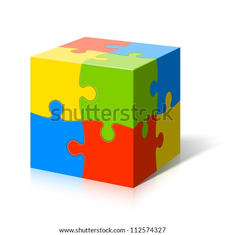 Puzzle cube. Vector. - stock vector
