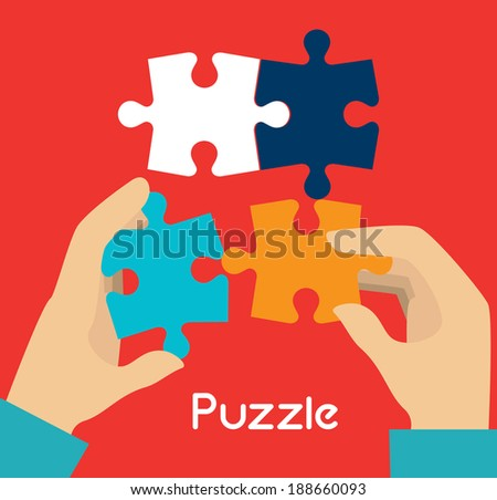 Puzzle design over red background, vector illustration - stock vector