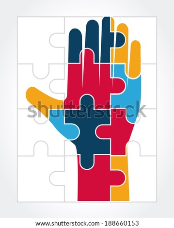 Puzzle design over white background, vector illustration - stock vector