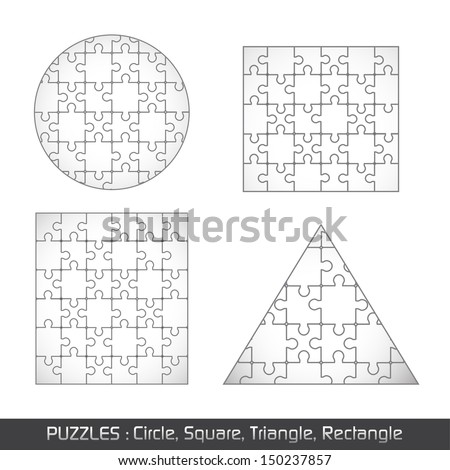 Puzzle Different Object Set - Isolated On White Background, Vector Illustration, Graphic Design Editable For Your Design. - stock vector