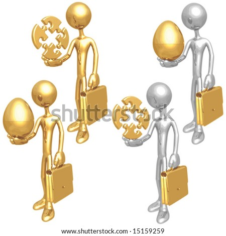 Puzzle Egg Businessmen - stock vector
