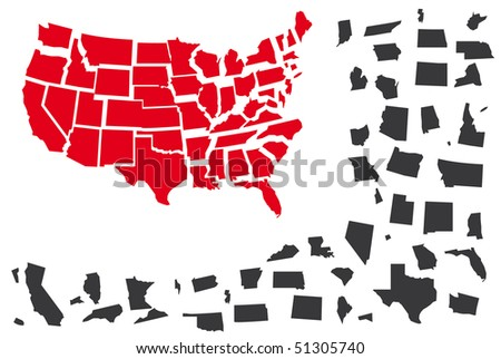 Puzzle from map USA in red and grey color. - stock vector