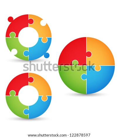 Puzzle - gears 2 - stock vector