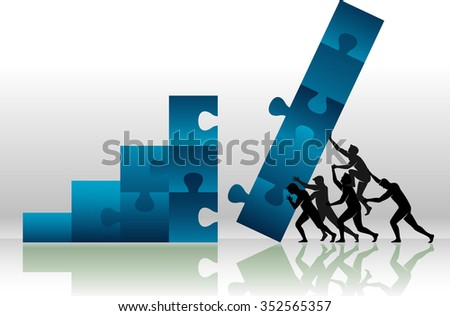 Puzzle Graph Push-Teamwork effort for large growth, business concept - stock vector