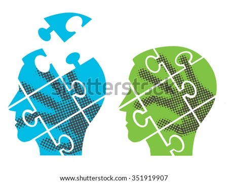 Puzzle heads silhouettes. Two Puzzle heads silhouettes with hand print symbolizing Psychology, psychological problems.Vector illustration.  - stock vector