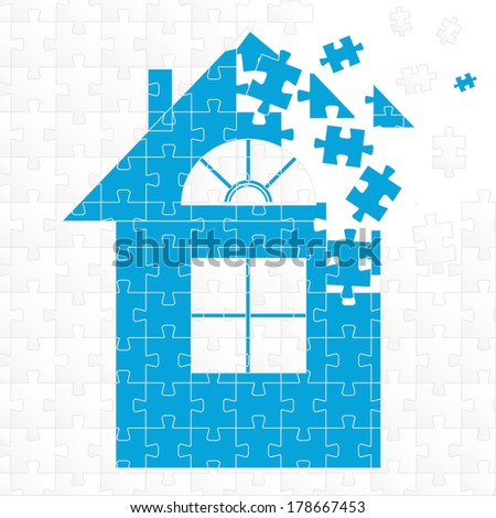puzzle home illustration design over a white background - stock vector