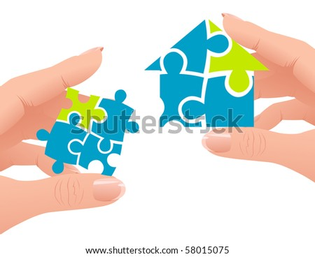 Puzzle home, vector illustration - stock vector