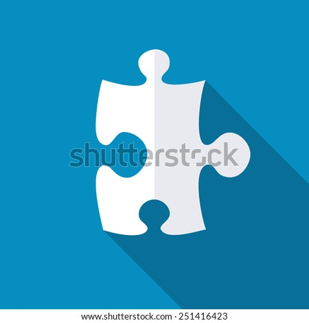 Puzzle icon. Modern flat icon with long shadow effect - stock vector