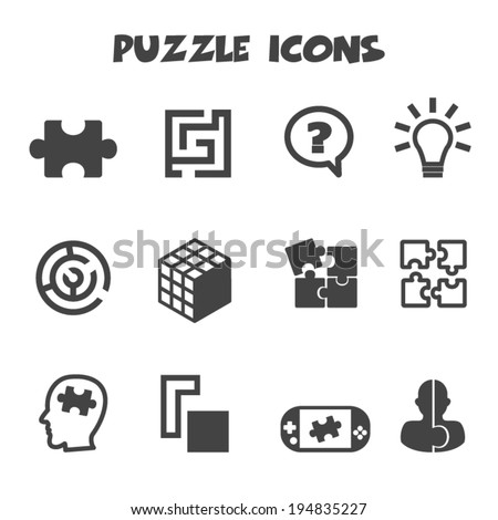 puzzle icons, mono vector symbols - stock vector