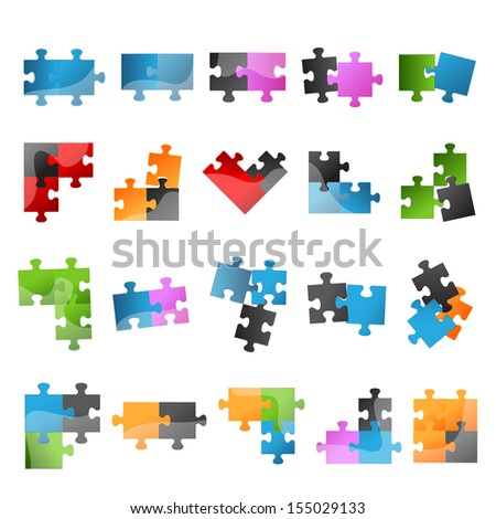 Puzzle Icons Set - Isolated On White Background, Vector Illustration, Graphic Design Editable For Your Design.  - stock vector