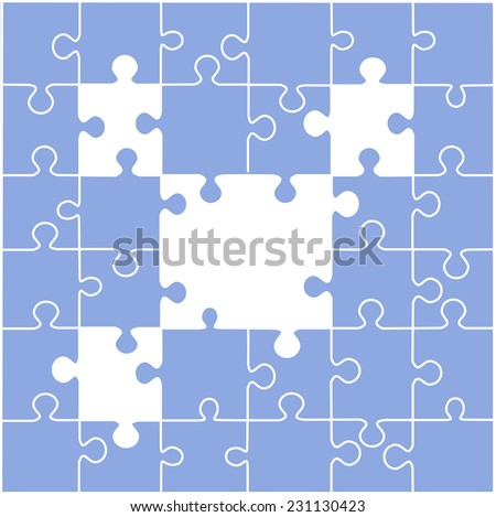 Puzzle illustration with blank spaces vector,  - stock vector