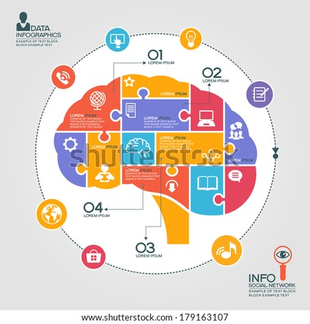 Puzzle in the form of abstract human brain surrounded infographic social network. Social network concept with icons and text - stock vector