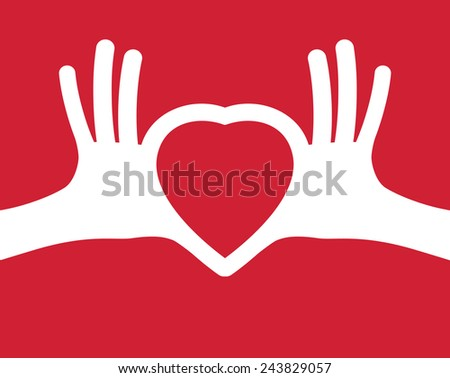 puzzle in the shape of heart in human hands. Heart in hands. Valentine's day, romance, love concept  - stock vector
