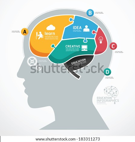 Puzzle Jigsaw Abstract Human Brain infographic Template. concept vector illustration - stock vector
