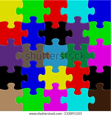 Puzzle mix - stock vector