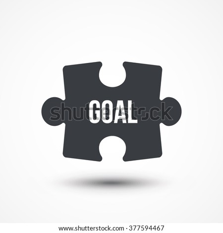 Puzzle piece. Concept image with GOAL word. Flat icon - stock vector