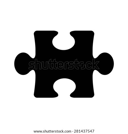 Puzzle piece flat icon for apps and websites - stock vector