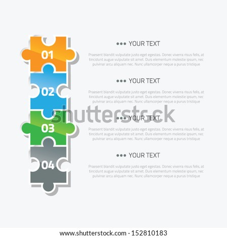 Puzzle piece infographic option and text area vector - stock vector