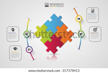 Puzzle piece infographics business concept. Modern design template. Vector illustration. - stock vector