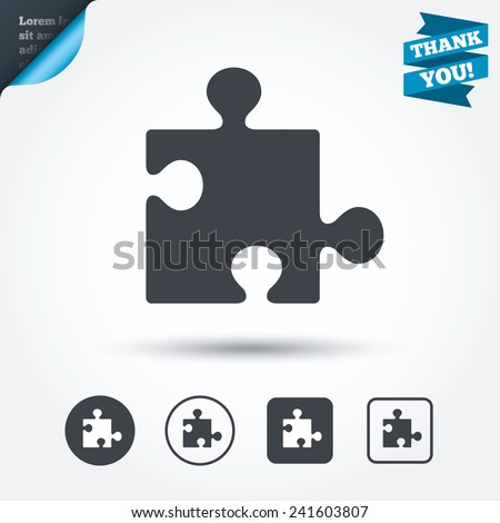 Puzzle piece sign icon. Strategy symbol. Circle and square buttons. Flat design set. Thank you ribbon. Vector - stock vector