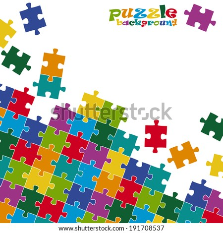 Puzzle pieces background colored - stock vector