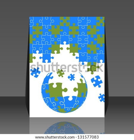 Puzzle pieces 3d globe vector design - flyer - stock vector