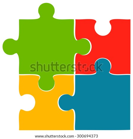 Puzzle Pieces, Vector Illustration - stock vector