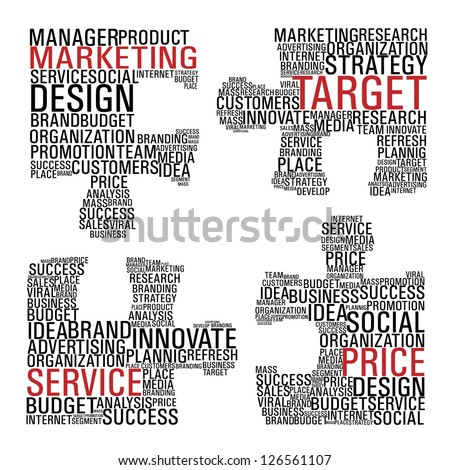 Puzzle pieces with marketing concept words isolated over white background. Vector file layered for easy manipulation and custom coloring. - stock vector