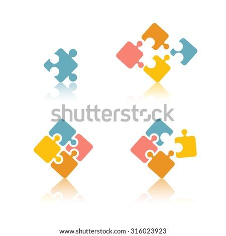 puzzle set - stock vector