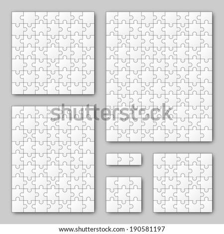 Puzzle Set - White - 6 puzzles - stock vector