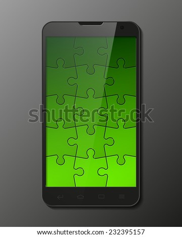 Puzzle Smartphone, mobile phone isolated, realistic vector illustration. - stock vector