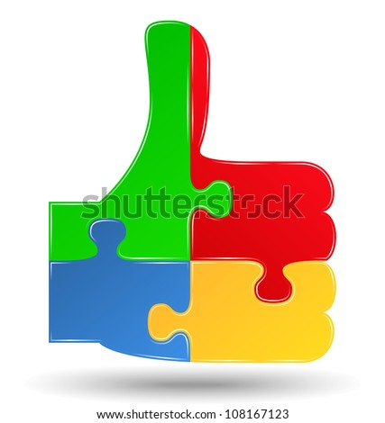 Puzzle thumbs up symbol, vector eps10 illustration - stock vector