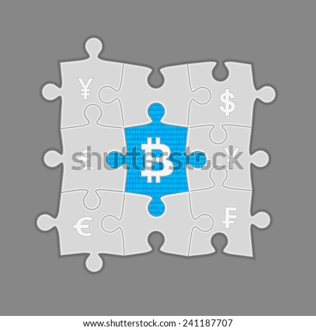Puzzle with bitcoins in the center. Conceptual illustration on gray - stock vector