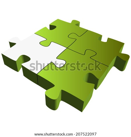 Puzzle with four parts - Teamwork symbolism - stock vector