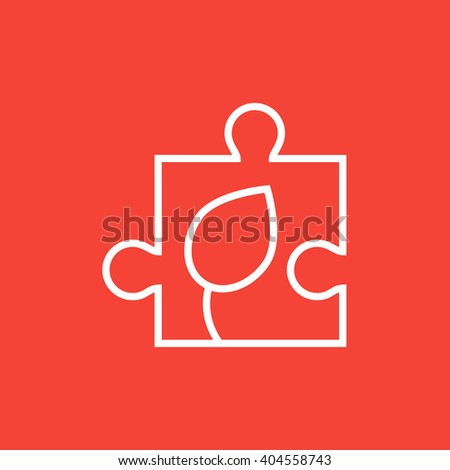 Puzzle with leaf line icon. - stock vector