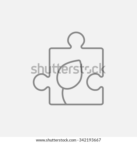 Puzzle with leaf line icon for web, mobile and infographics. Vector dark grey icon isolated on light grey background. - stock vector