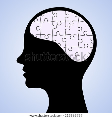 Puzzled Brain - stock vector