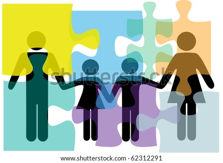 Puzzled family people problem symbols in counseling mental health psychology abstract. - stock vector