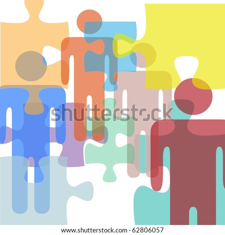 Puzzled or troubled people face problems or confusion as symbols in a mental health or business abstract - stock vector