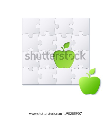 Puzzles and green apple concept vector background - stock vector