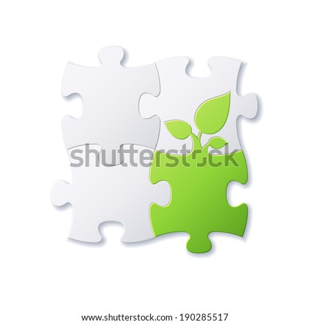Puzzles and green leaf vector background file - stock vector